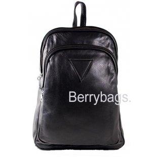 Кожаный городской рюкзак черный AB-8 - Wes Black