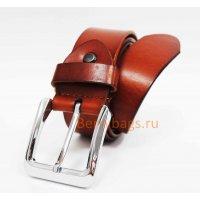 Мужской кожаный ремень W-Rate цвета коньяк BB39189
