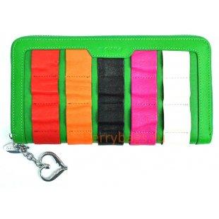 Женский кожаный цветной кошелек на молнии BRISTAN WERO 2435 -RAINBOW (Green)