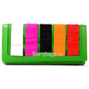 Классический разноцветный кожаный кошелек BRISTAN WERO 2438-STINKI(Lime)