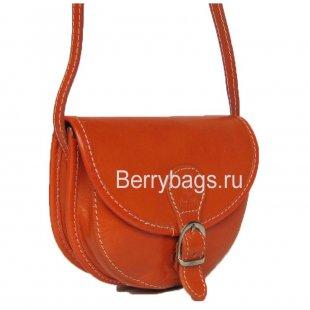 Маленькая женская сумочка через плечо из кожи коньячная Bianchi 3224 - cognaс