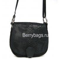 Женская сумка через плечо черная змея Bianchi 3345 Nero
