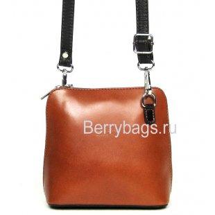 Женская маленькая кожаная сумочка через плечо Италия Bianchi 4468 Сognac