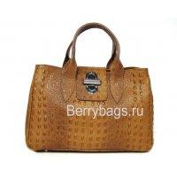 Женская классическая сумка из кожи Италия Bianchi 4756 Crocodile marrone