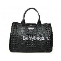 Классическая женская сумка из натуральной кожи Италия Bianchi 4757 Nero Crocodile