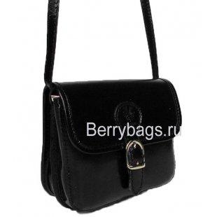 Маленькая черная кожаная сумочка через плечо Bianchi 4924 -Black