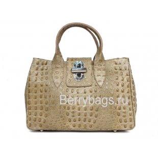 Женская классическая сумка из кожи Италия Bianchi 4942 Grigio coccodrillo