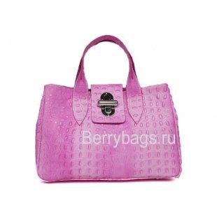 Классическая женская сумка из кожи Италия Bianchi 5810 Rosa Crocodile