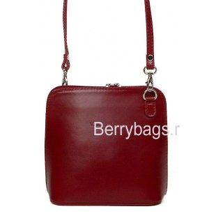 Красная маленькая сумочка из кожи через плечо Италия Bianchi 6293 Сiliegia