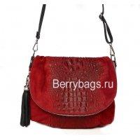 Женская сумочка через плечо красный крокодил Bianchi 6718 Сrocodile Rosso