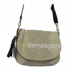 Женская сумочка через плечо серый крокодил Bianchi 7086 Сrocodile Grigio