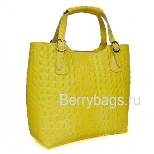 Классическая женская сумка из кожи желтая Италия Bianchi 7343 giallo