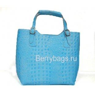Классическая женская сумка из кожи голубая Италия Bianchi 7346 Balena Blu