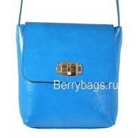 Женская кожаная сумочка через плечо маленькая Bianchi 7375 Blu zaffiro