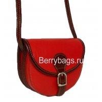 Женская кожаная красная сумочка через плечо Bianchi 7377 Rosso sangue