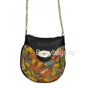 Маленькая кожаная сумочка через плечо женская Bianchi 7392 Farfalla verde