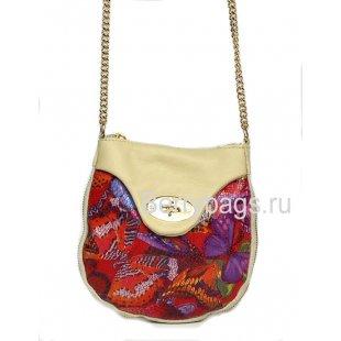 Маленькая мягкая кожаная сумочка через плечо женская Bianchi 7393 Farfalla rossa