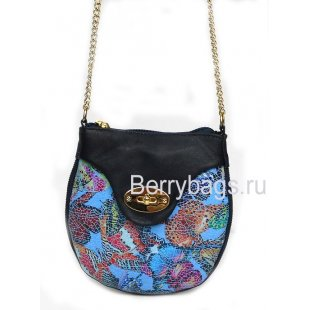 Мягкая женская сумочка через плечо голубая фреска Bianchi 7394 Farfalla blu