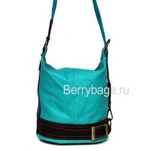 Универсальная сумка рюкзак из кожи Bianchi 7423 Turchese