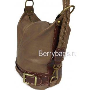 Универсальная сумка рюкзак из кожи Bianchi 7424 Marrone Chiaro