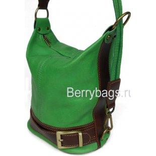 Универсальная женская сумка рюкзак из зеленой кожи Bianchi 7427 Verde