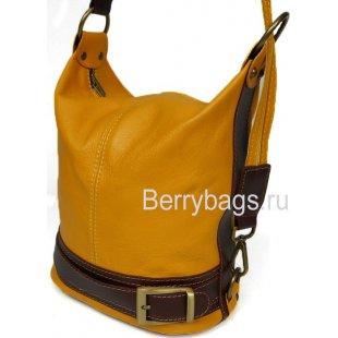 Универсальная женская сумка рюкзак из горчичной кожи Bianchi 7430 Senape