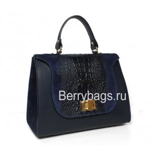Классическая женская сумка синего цвета Италия Bianchi 7715 Blu