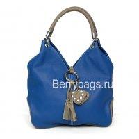 Женская мягкая сумка из кожи Bianchi 7878 Blu