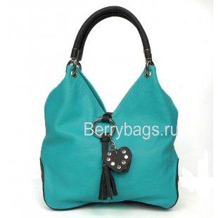 Женская мягкая сумка из кожи Bianchi 7880 Turchese