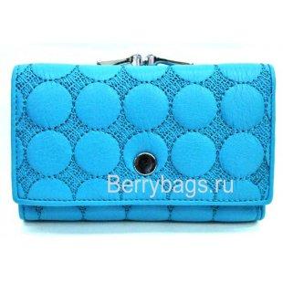 Женский маленький кожаный кошелек голубой Bristan Wero 259310 - Eva
