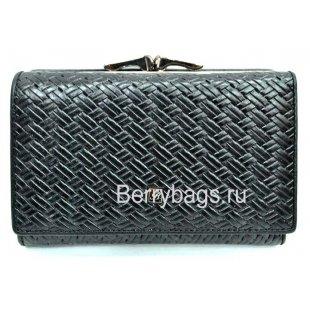 Женский плетеный кожаный кошелек маленький  Bristan Wero 8754 - Body Roll