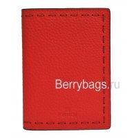 Обложка для паспорта с картами кожаная красная Fendi 117658 Red