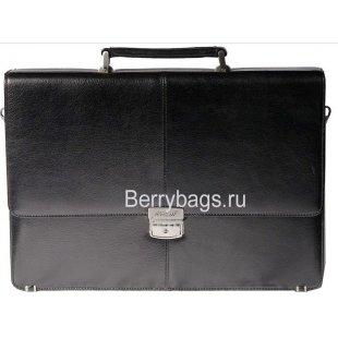 Строгий мужской портфель с папкой кожаный черного цвета Ferdinand 40699 -Damask