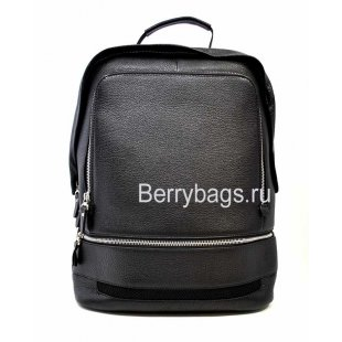 Городской кожаный рюкзак мужской черный Hight Touch130031-HELMAN