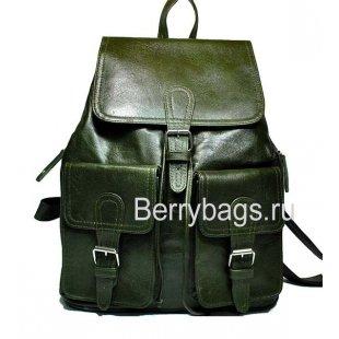 Рюкзак кожаный зеленый Iron 569337-Gratar