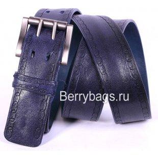 Джинсовый женский ремень синий кожаный N40-04 Do-lacki