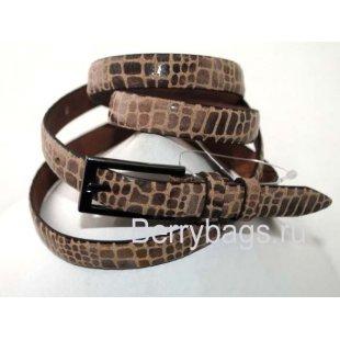Женский ремень узкий OPS 12676 - Brown snake