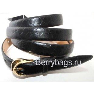 Женский ремень узкий черный OPS 12700 -Val