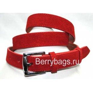 Женский ремень из замши красный OPS 12710 -Ordaz