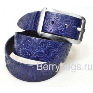 Женский ремень джинсовый OPS 12746 - Blue leaf
