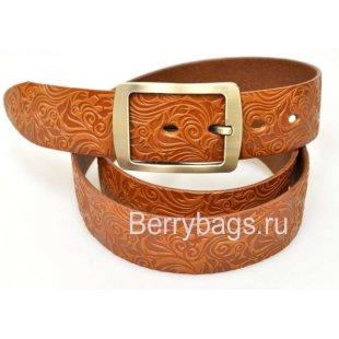 Женский ремень джинсовый OPS 12754 - Cognac leaf