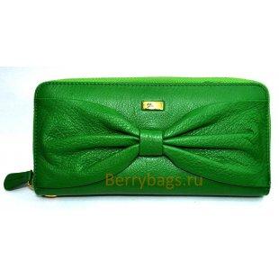 Кошелек на молнии зеленый кожаный  PASSION 2400 -GARACIONA