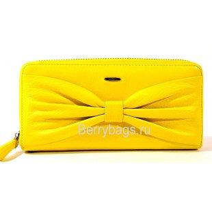 Желтый кожаный кошелек на молнии PASSION - 2402-01