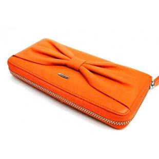 Оранжевый кожаный кошелек на молнии Passion 2404
