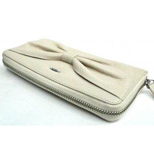 Белый кожаный кошелек на молнии PASSION 2405-01 -RABBIT