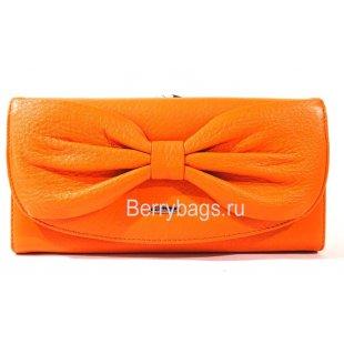 Классический кожаный кошелек оранжевого цвета Bristan Wero  2407 -ORANGE