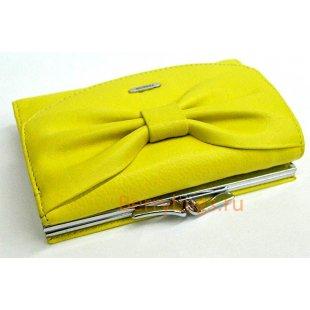 Желтый маленький кожаный горизонтальный кошелек PASSION  2408