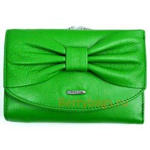 Зеленый маленький кожаный горизонтальный кошелек Passion 2409