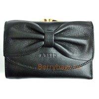 Маленький черный кожаный горизонтальный кошелек Passion 2412 -Schafl