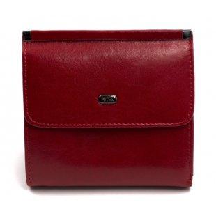 Кожаный маленький кошелек на кнопке красный Petek 21265